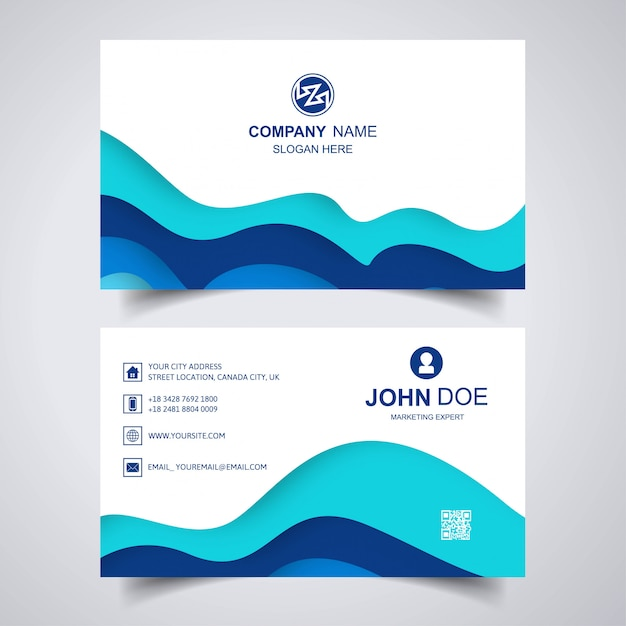 Elegant business card with wave template Free Vector