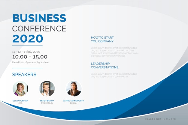 Elegant business conference poster template Free Vector
