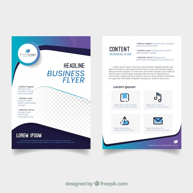 Elegant business flyer template with abstract design Free Vector