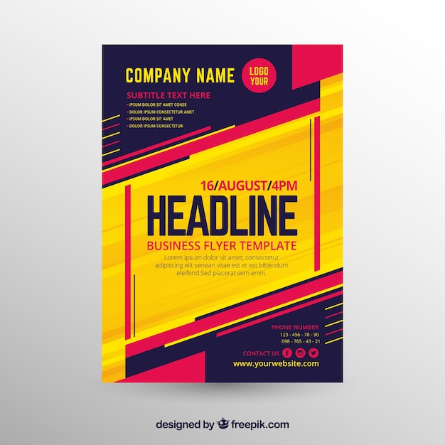Elegant business flyer template with abstract style Free Vector