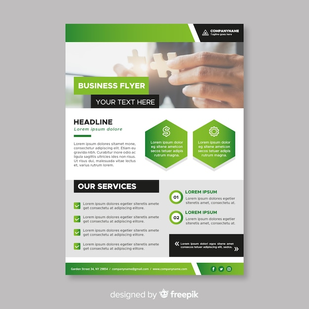 Elegant business flyer template with flat design Free Vector