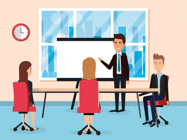 Elegant business people in the office scene Free Vector