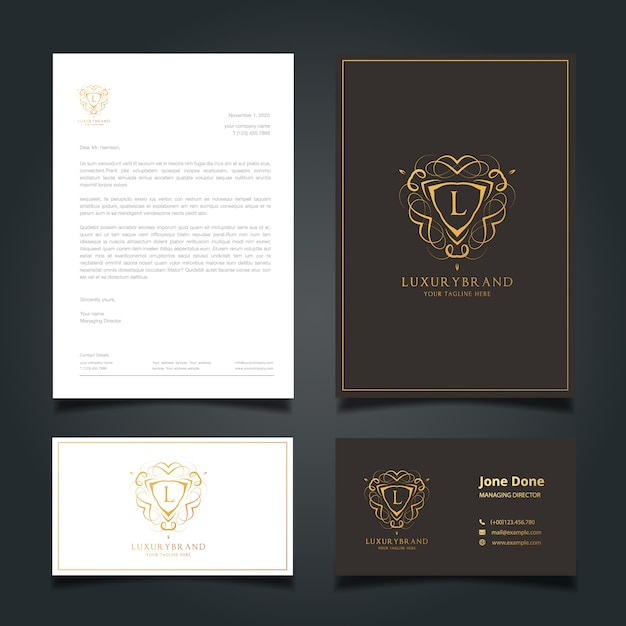 Elegant Professional Corporate Letterhead Template 000890: Elegant Business Stationery Vector