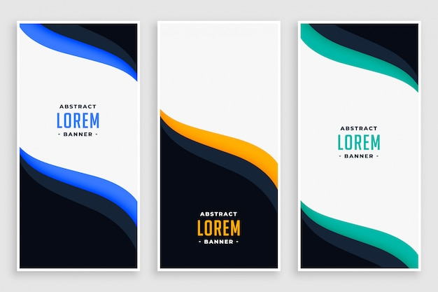 Elegant business vertical banners in wave style Free Vector