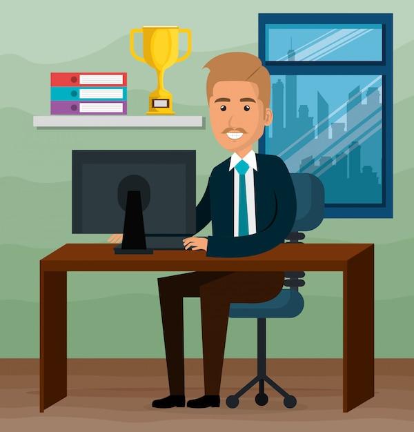 Elegant businessman in the office scene Free Vector
