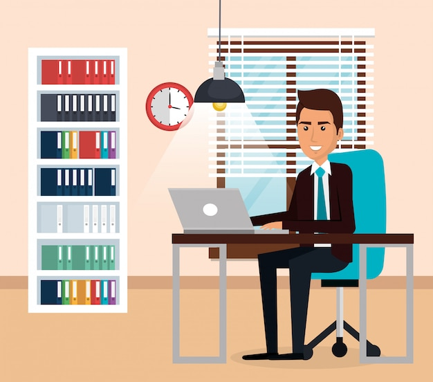 Elegant businessman in the office scene Free Vector