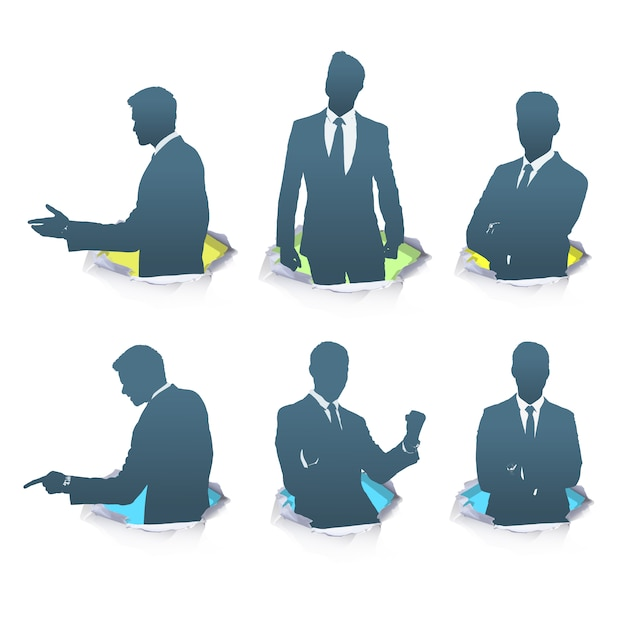 elegant businessman silhouette collect vector free download