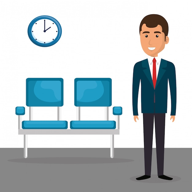 Elegant businessman in the waiting room Free Vector