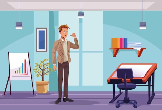 Элегантный бизнесмен рабочий на иллюстрации сцены на рабочем месте Premium векторы