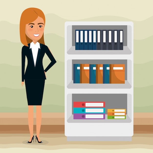 Elegant businesswoman in the office scene Free Vector