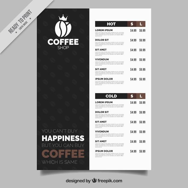 Elegant cafe menu Free Vector