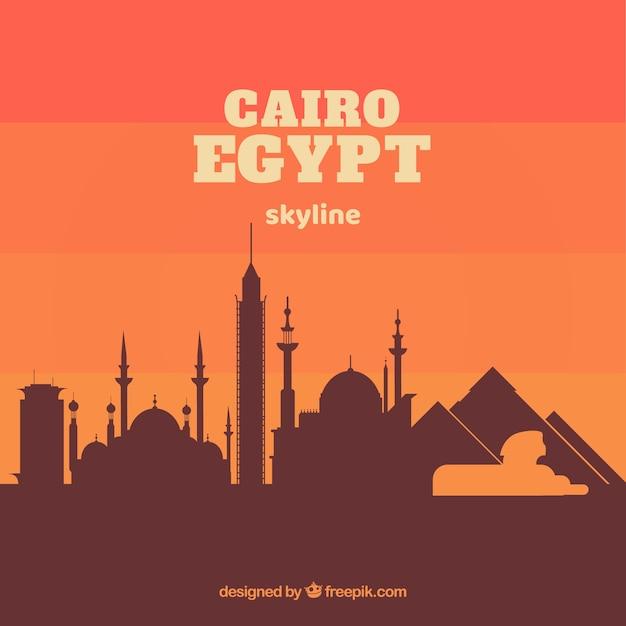 Elegant cairo skyline with flat design Free Vector