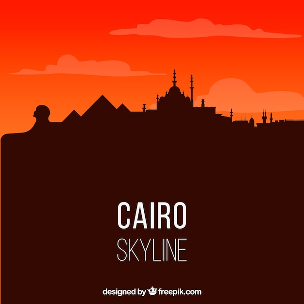 Elegant cairo skyline with flat design Premium Vector