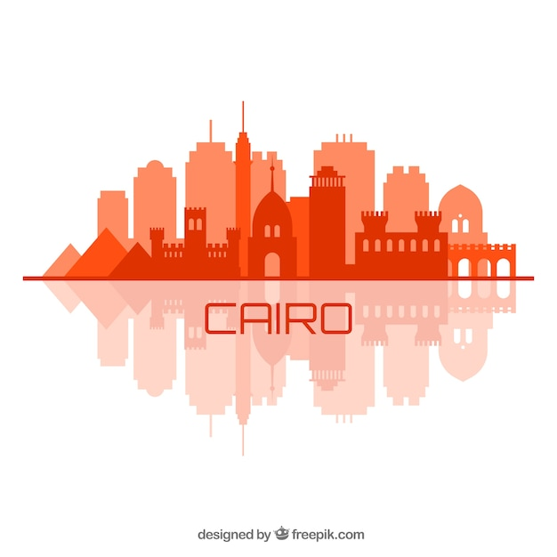 Elegant cairo skyline with flat design Free Vector