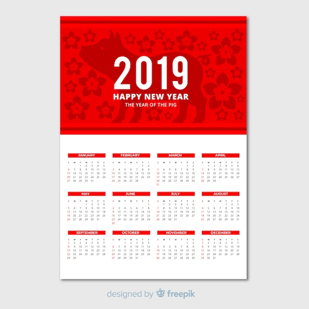 Elegant calendar for chinese new year Free Vector