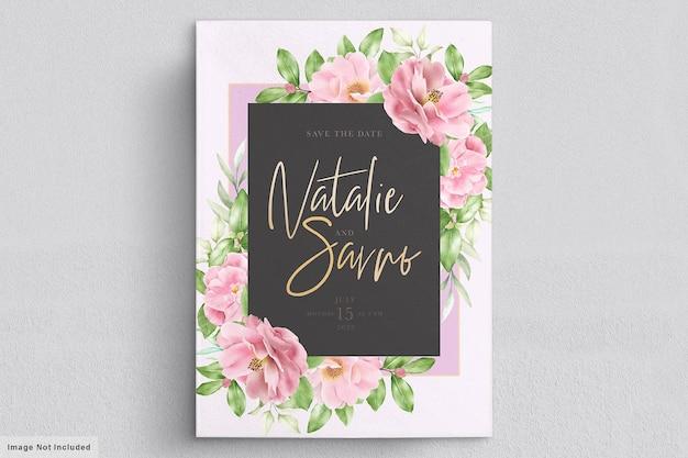 Элегантный цветочный шаблон свадебного приглашения камелия Бесплатные векторы