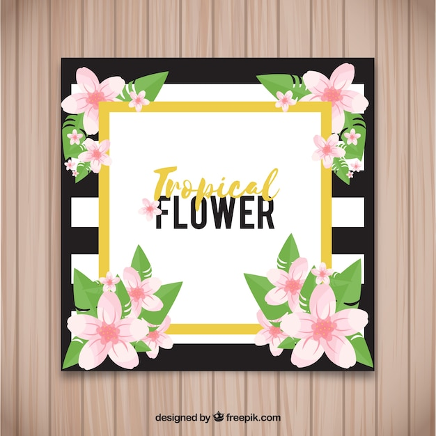 Elegant card of tropical flowers