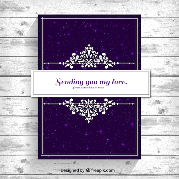 free vector  elegant card with purple background