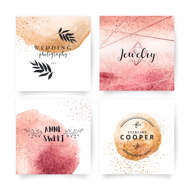 Коллекция elegant card с прекрасными логотипами Бесплатные векторы
