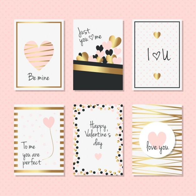 Elegant cards with golden details for valentines day Free Vector