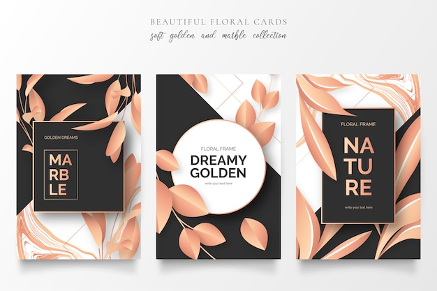 Elegant cards with golden nature Free Vector