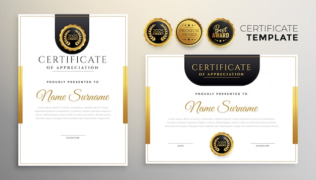 Elegant certificate of appreciation modern template set of two Free Vector