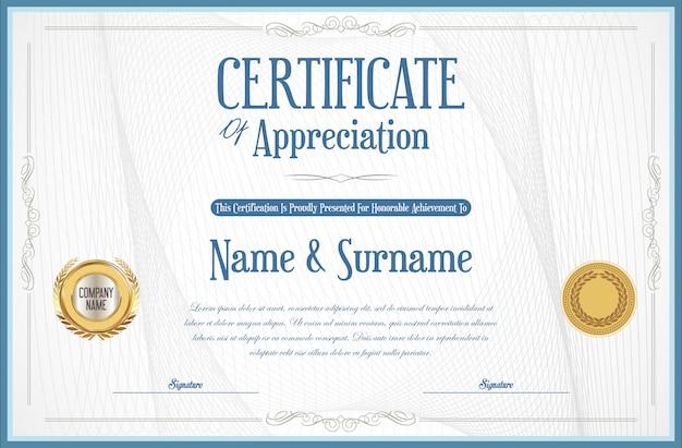 Elegant certificate or diploma retro vintage design Premium Vector