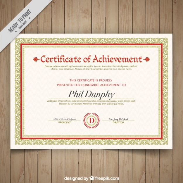 Elegant Certificate Of Achievement With Ornaments Free Vector  Free Certificate Of Achievement