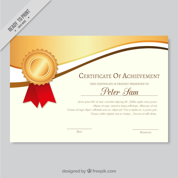 Elegant certificate of achievement with wavy golden forms Vector – Free Certificate of Achievement
