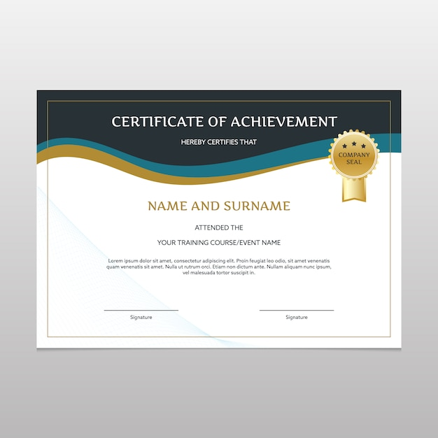 Elegant Certificate Of Achievement Vector Free Download