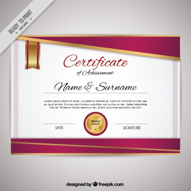 Elegant Certificate Of Achievement Free Vector  Free Certificate Of Achievement