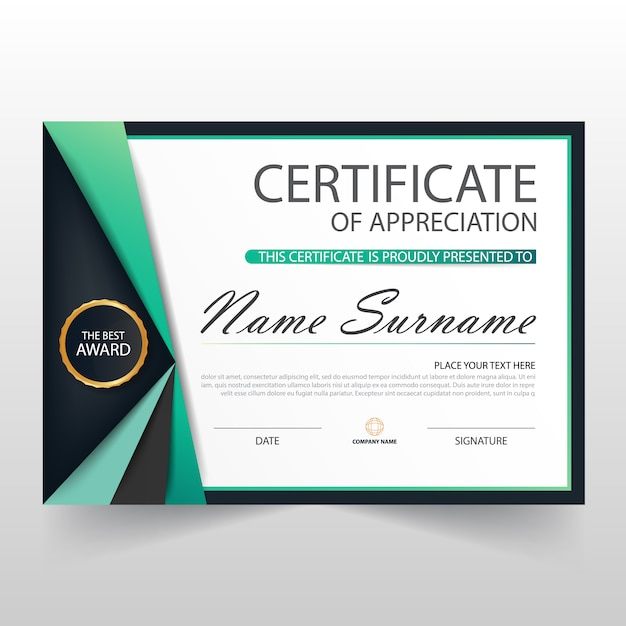 Elegant certificate of appreciation template vector free for Free certificate of appreciation template downloads