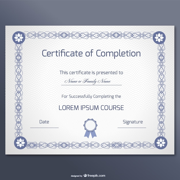Elegant Certificate Of Completion Template Free Vector  Certificate Of Completion Free Template