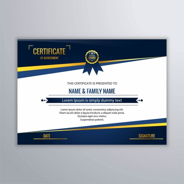 download vector elegant certificate of recognition with golden