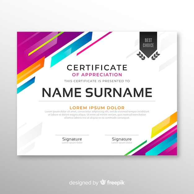 Elegant certificate template in abstract style Free Vector
