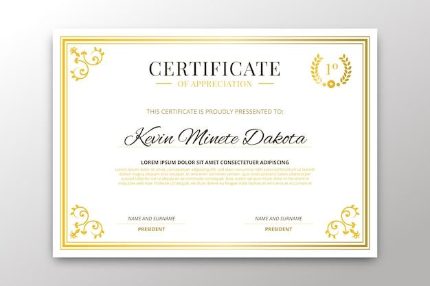 Elegant certificate template concept Free Vector