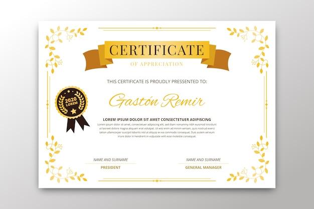 Elegant certificate template design Free Vector