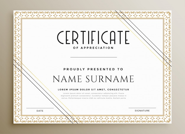 Elegant certificate template in gold theme Free Vector