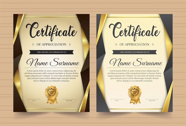 Elegant certificate template vector with luxury and modern pattern background Premium Vector