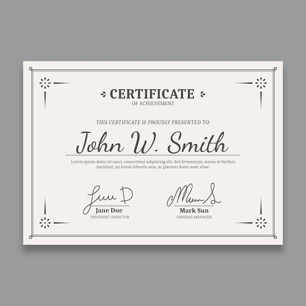 Elegant certificate template with fancy borders Free Vector