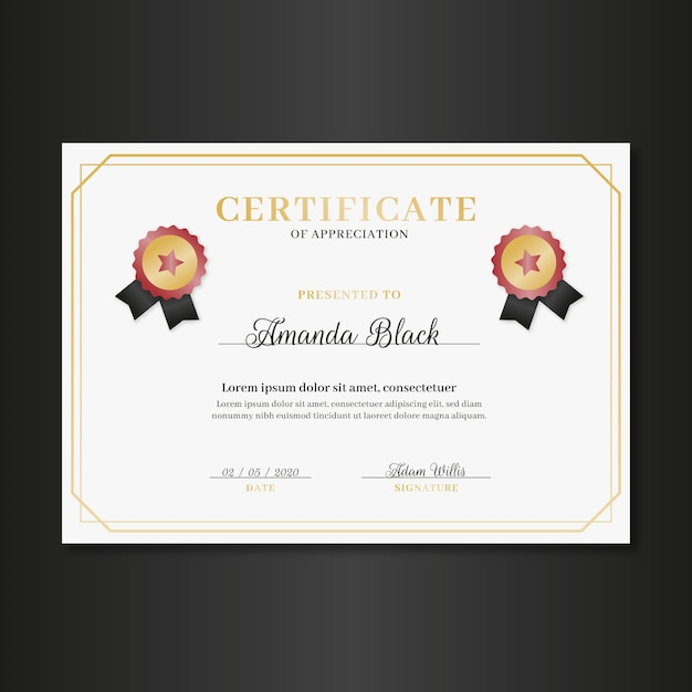 Elegant certificate template with frame Free Vector