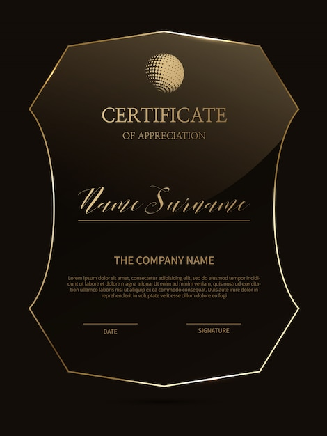 Elegant certificate template with glass material frame Premium Vector
