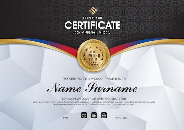 Elegant certificate template with gold details Premium Vector