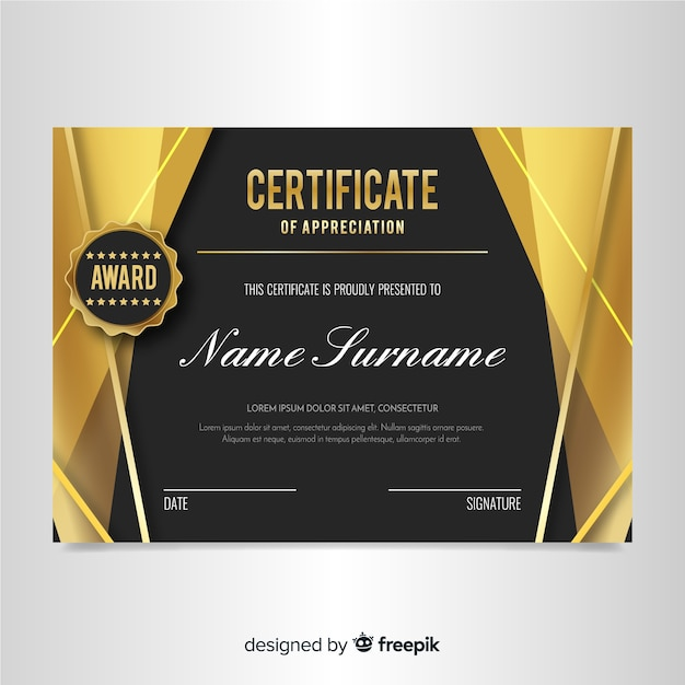 Elegant certificate template with golden design Free Vector
