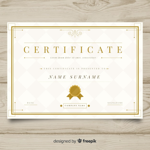 Elegant Marriage Certificate Template Golden Edition: Elegant Certificate Template With Golden Design Vector