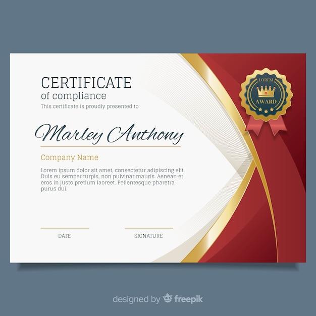 Elegant certificate template with golden elements Free Vector