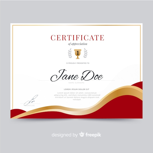 elegant certificate template with golden shapes vector free download
