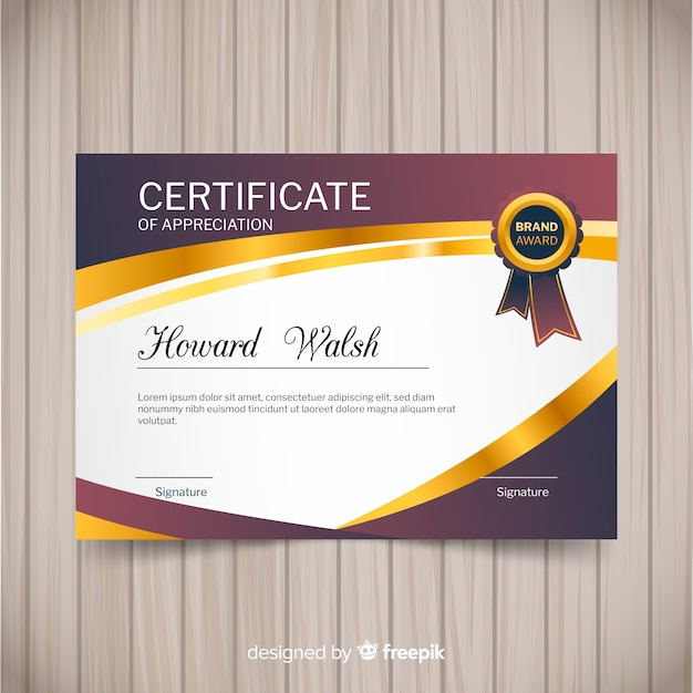Elegant certificate template with golden style Free Vector