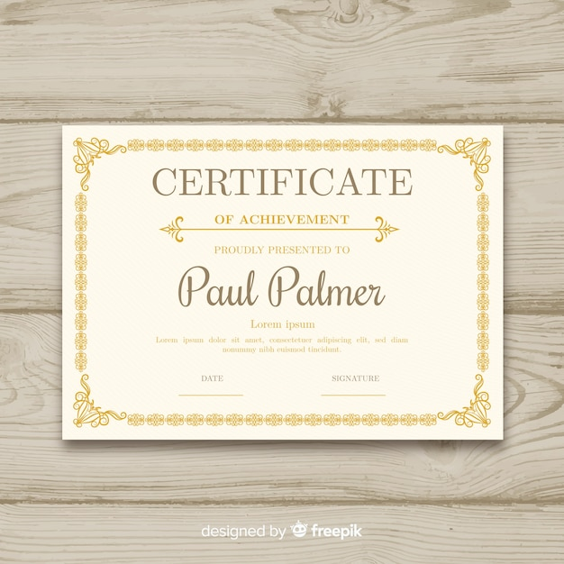 Elegant certificate template with ornamental frame Free Vector