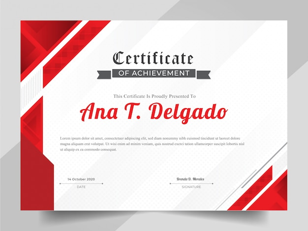 Premium Vector Elegant Certificate Template With Red Abstract Background